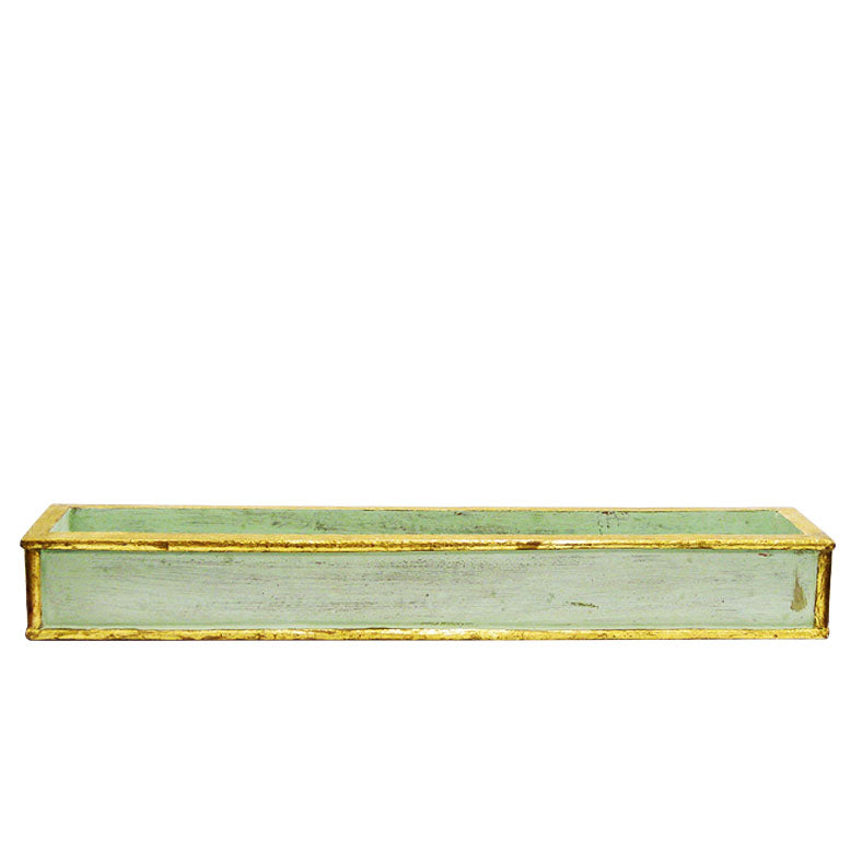 Wooden Short Rect Planter - Gray Antique w/ Gold