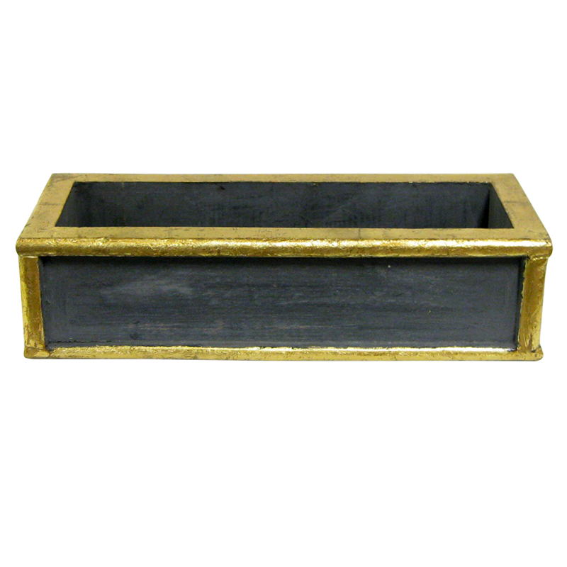 Wooden Short Rect Planter Small - Dark Blue Grey w/ Antique Gold