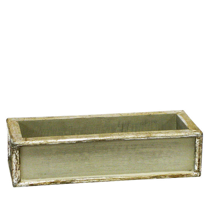 Wooden Short Rect Planter Small - Antique Gray Green w/ Silver
