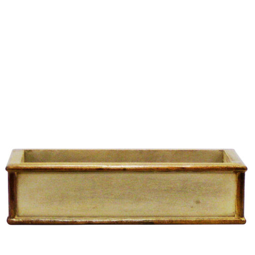 Wooden Short Rect Planter Small - Patina Distressed w/ Bronze