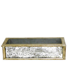 Load image into Gallery viewer, [WSRPS-SAM-SUSG] Wooden Short Rect Container Antique Silver w/ Antique Mirror - Succulents Sage Artificial