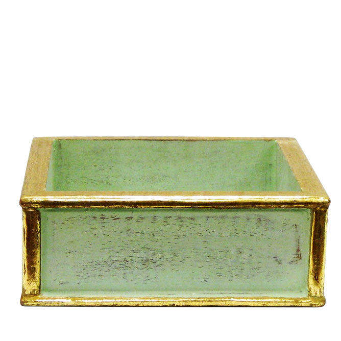 Wooden Short Square Planter - Gray Green w/ Gold