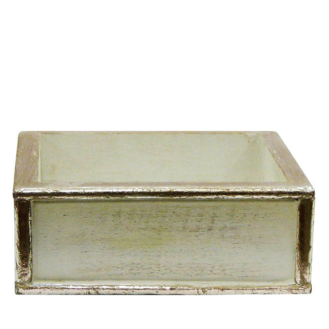 Wooden Short Square Planter - Antique Gray w/ Silver