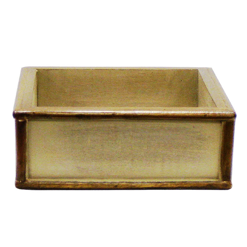 Wooden Short Square Planter - Patina Distressed w/ Bronze