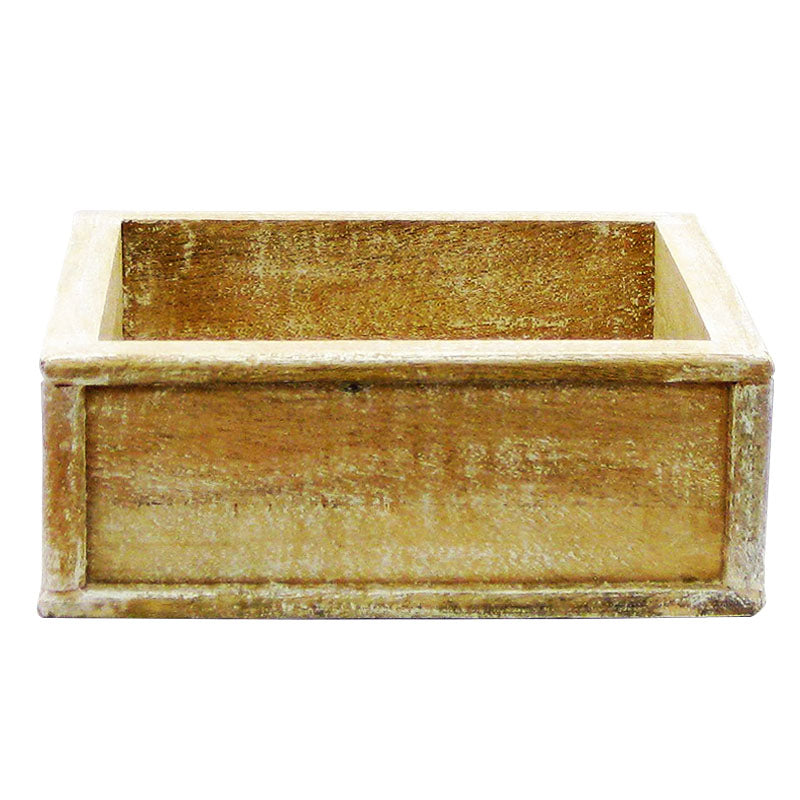 Wooden Short Square Planter - Weathered Antique