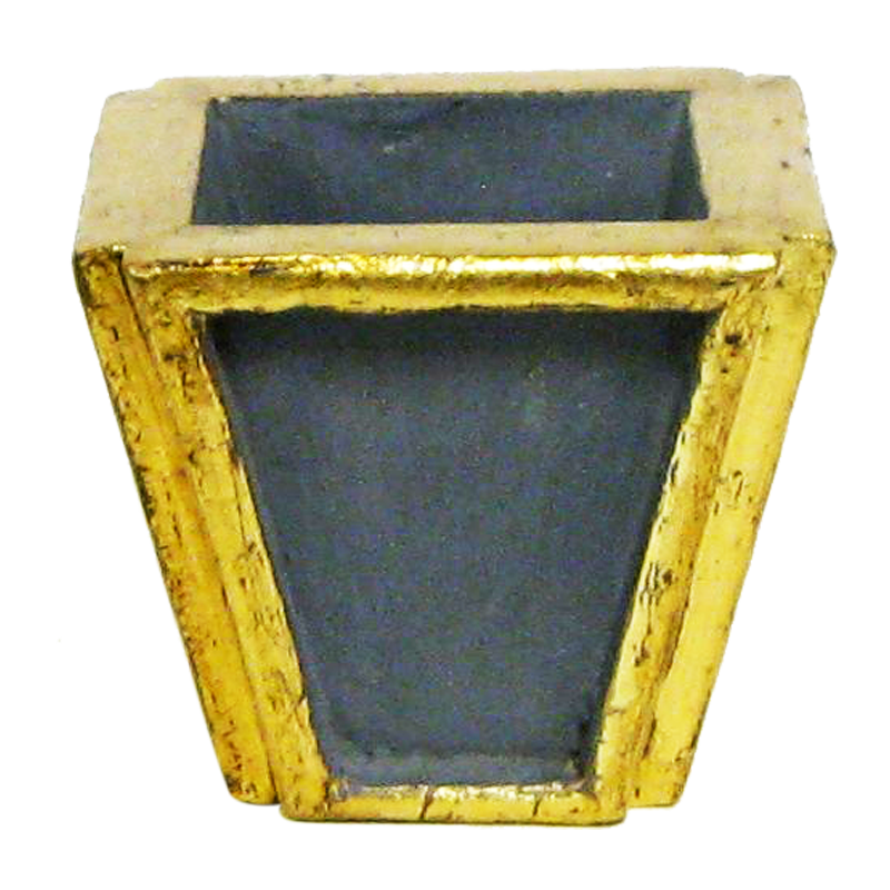 Wooden Small Planter - Dark Blue Grey w/ Antique Gold