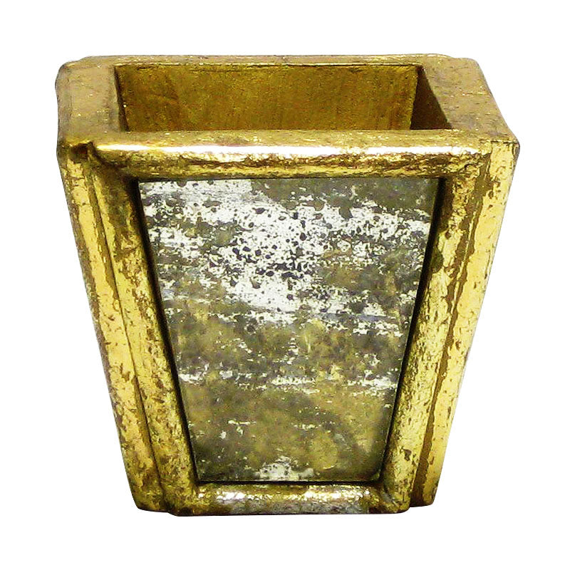 Wooden Small Planter - Gold Antique w/ Antique Mirror