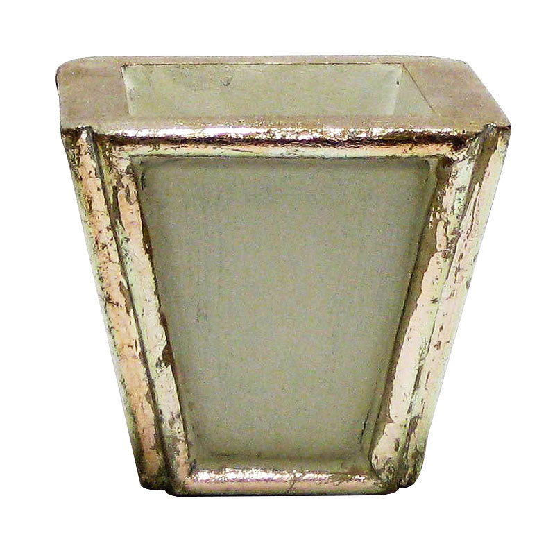 Wooden Small Planter - Gray w/ Silver Antique