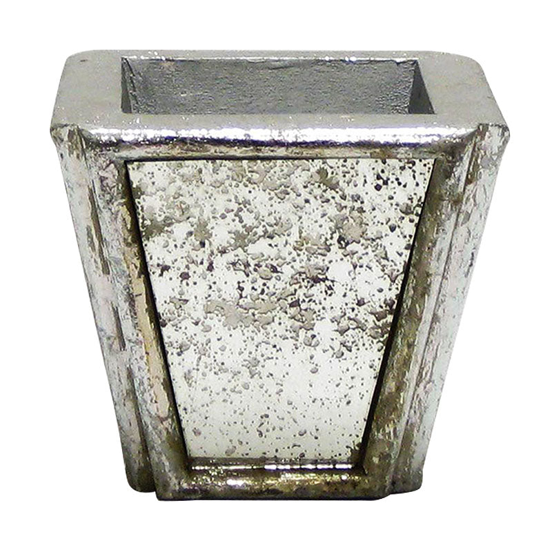 Wooden Small Planter - Silver Antique w/ Antique Mirror