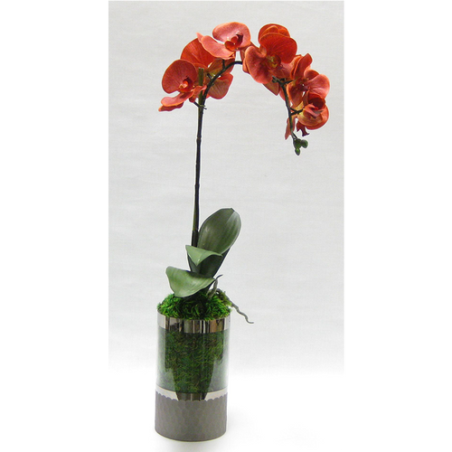 Cylinder Glass Vase Smoke - Orange Orchid Artificial