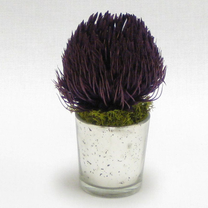 Mercury Glass Votive - Banksia Purple