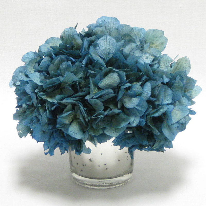 Mercury Glass Votive - Hydrangea Natural Blue