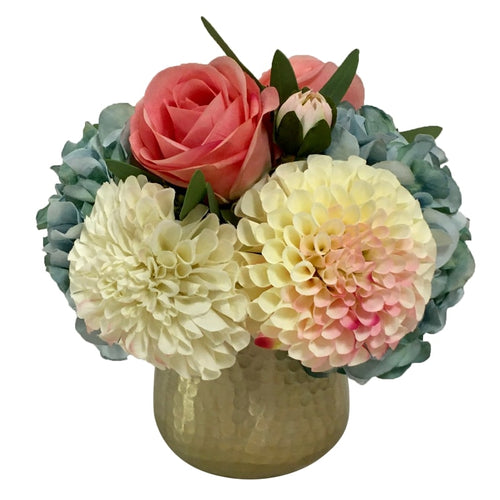Gold Metal Hammered Vase Small - Artificial Dahlia, Rose & Hydrangea -  Blue & Pink