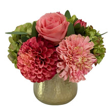 Load image into Gallery viewer, Gold Metal Hammered Vase Small - Artificial Dahlia, Rose & Hydrangea - Green & Pink