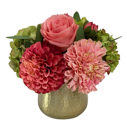 Gold Metal Hammered Vase Small - Artificial Dahlia, Rose & Hydrangea - Green & Pink