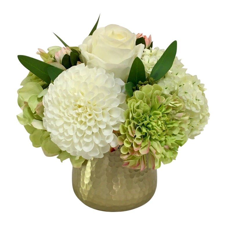 Gold Metal Hammered Vase Small - Artificial Dahlia, Rose & Hydrangea - Green & White