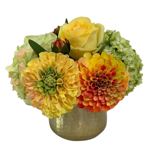 Gold Metal Hammered Vase Small - Artificial Dahlia, Rose & Hydrangea -  Green & Yellow