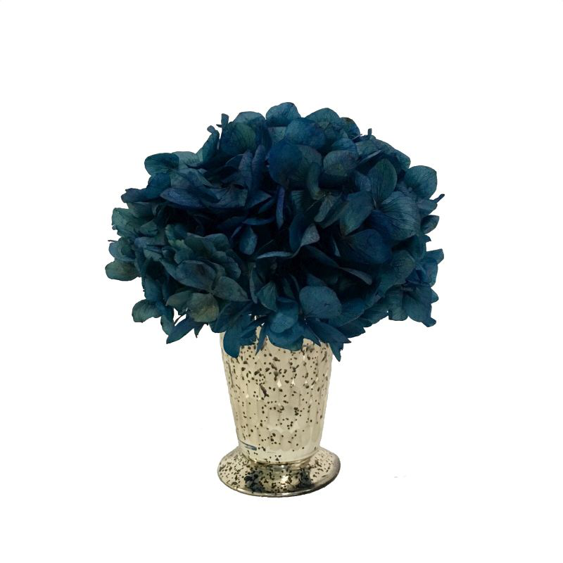 Glass Julep Cup Hammered - Hydrangea Natural Blue