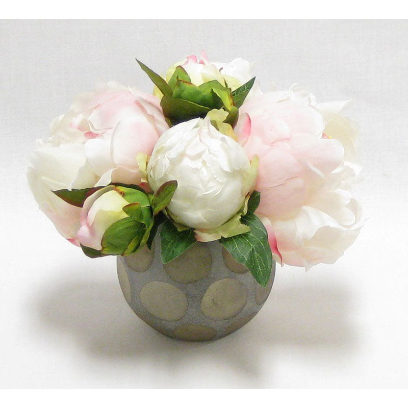Round Vase w/Dots - Peony Artificial