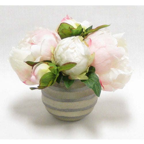 Round Vase w/Stripes - Peony Artificial