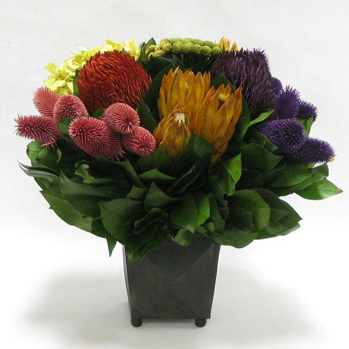 Copper Square Mini Container - Banksia Red, Purple, Yellow, Teasil Burgundy, Purple & Hydrangea Basil