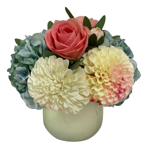 Resin Round Container Small Champagne Leaf - Artificial Dahlia, Rose & Hydrangea -  Blue & Pink