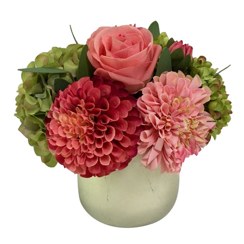 Resin Round Container Small Champagne Leaf - Artificial Dahlia, Rose & Hydrangea - Green & Pink