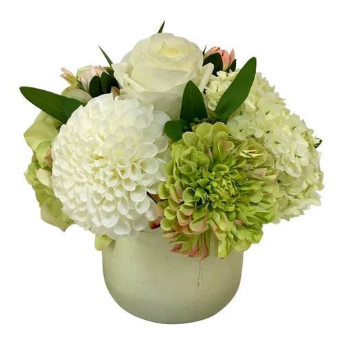 Resin Round Container Small Champagne Leaf - Artificial Dahlia, Rose & Hydrangea - Green & White