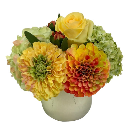 Resin Round Container Small Champagne Leaf - Artificial Dahlia, Rose & Hydrangea -  Green & Yellow