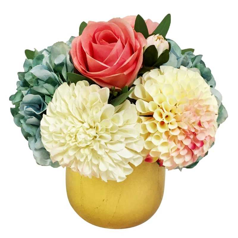 Resin Round Container Small Gold Leaf - Artificial Dahlia, Rose & Hydrangea -  Blue & Pink