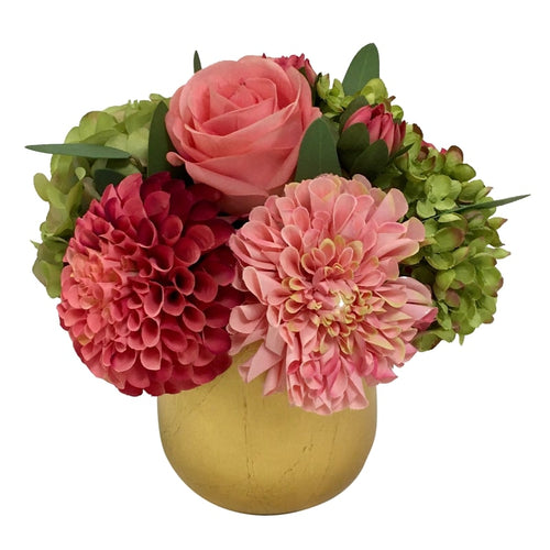 Resin Round Container Small Gold Leaf - Artificial Dahlia, Rose & Hydrangea - Green & Pink