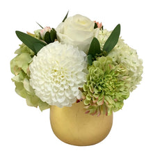 Load image into Gallery viewer, Resin Round Container Small Gold Leaf - Artificial Dahlia, Rose & Hydrangea - Green & White