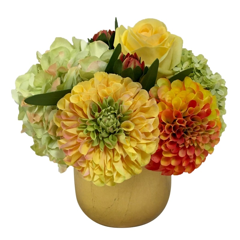 Resin Round Container Small Gold Leaf - Artificial Dahlia, Rose & Hydrangea -  Green & Yellow