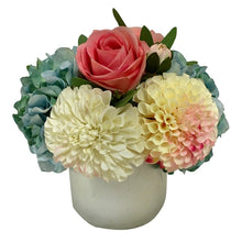 Load image into Gallery viewer, Resin Round Container Small Silver Leaf - Artificial Dahlia, Rose & Hydrangea -  Blue & Pink