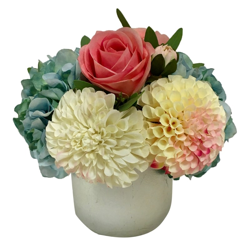 Resin Round Container Small Silver Leaf - Artificial Dahlia, Rose & Hydrangea -  Blue & Pink