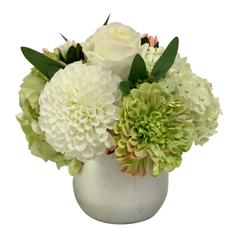 Resin Round Container Small Silver Leaf - Artificial Dahlia, Rose & Hydrangea - Green & White