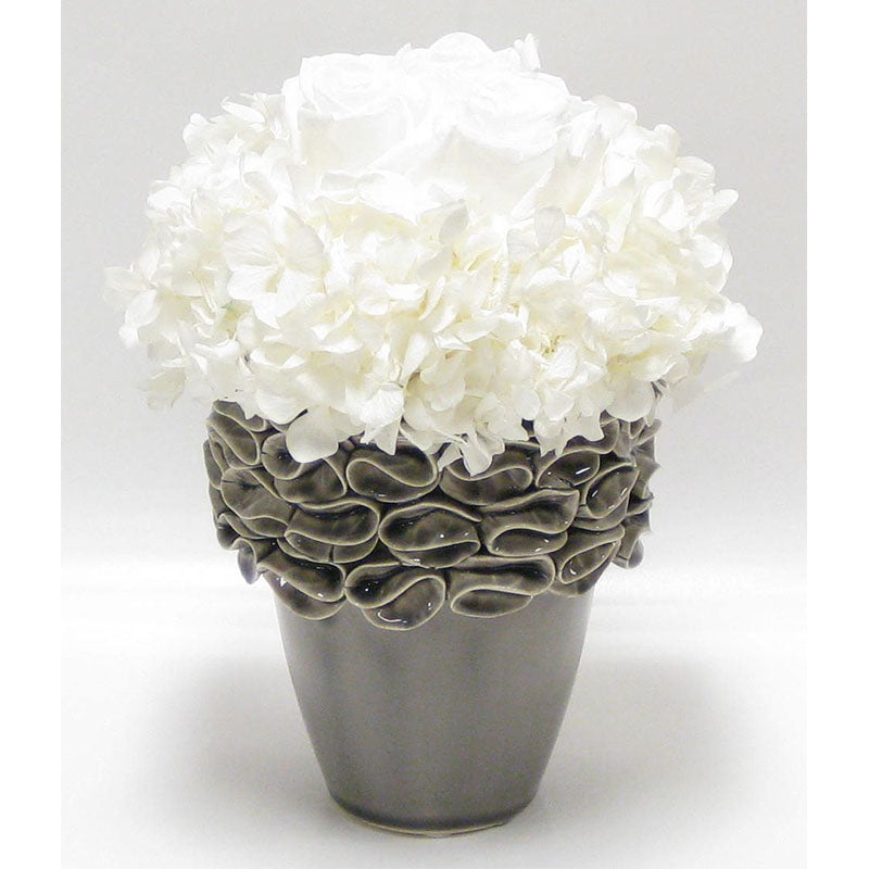 Ceramic Vase Grey - Roses White & Hydrangea White