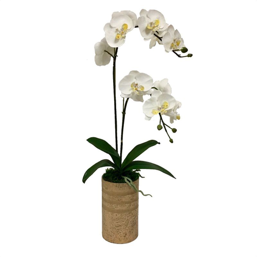 Gold Glass Vase Large - White & Yellow Double Orchid Artificial