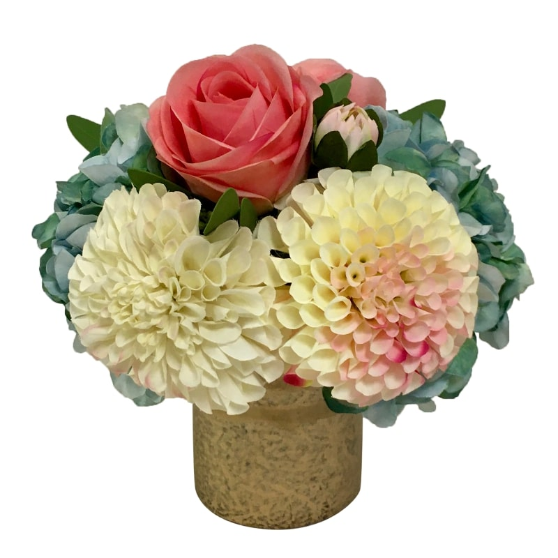 Gold Glass Vase Medium - Artificial Dahlia, Rose & Hydrangea -  Blue & Pink