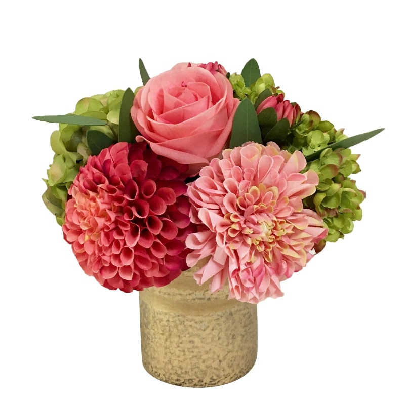 Gold Glass Vase Medium - Artificial Dahlia, Rose & Hydrangea - Green & Pink