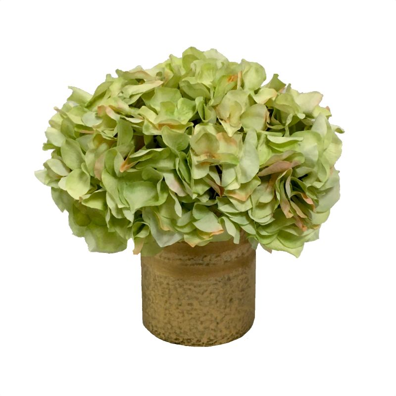 Gold Glass Vase Medium - Artificial Hydrangea Light Green