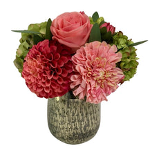Load image into Gallery viewer, Round Glass Vase Hammered Medium - Artificial Dahlia, Rose & Hydrangea - Green & Pink