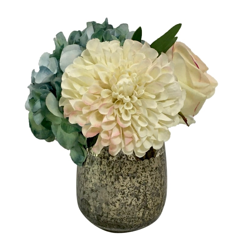Round Glass Vase Hammered Small - Artificial Dahlia, Rose & Hydrangea - Blue & White