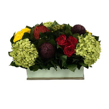 Load image into Gallery viewer, [RPS-GG-MLP] Rectangular Planter Small Grey Green - Multicolor Red, Yellow, Purple w/ Basil Hydrangea