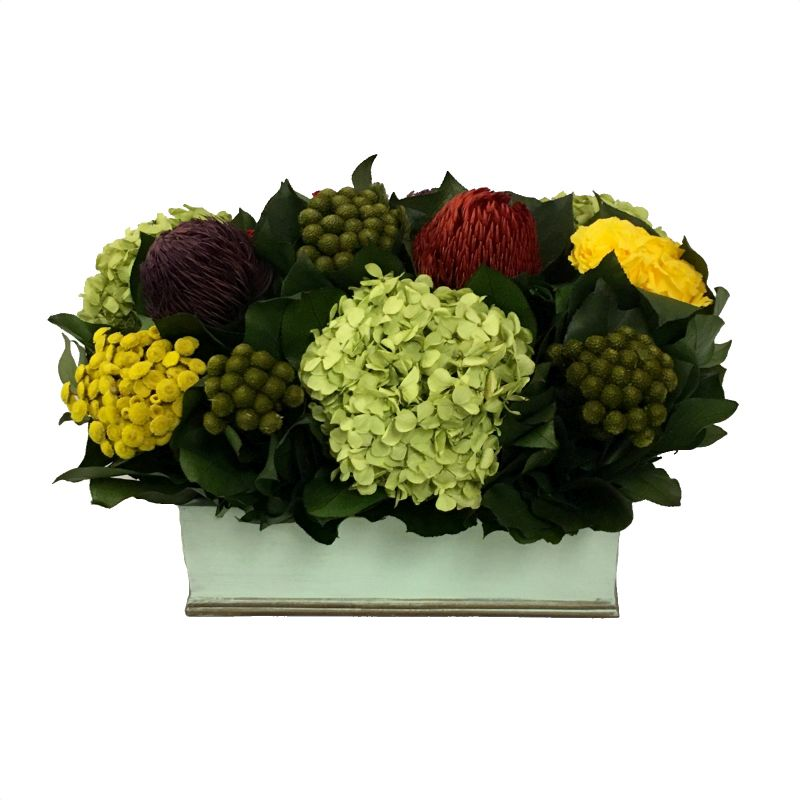 Rectangular Planter Small Grey Green - Multicolor Red, Yellow, Purple w/ Basil Hydrangea