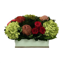Load image into Gallery viewer, [RPS-GG-PRHDB] Rectangular Planter Small Grey Green - Multicolor Red & Pink w/ Basil Hydrangea