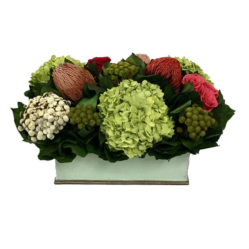 Rectangular Planter Small Grey Green - Multicolor Red & Pink w/ Basil Hydrangea