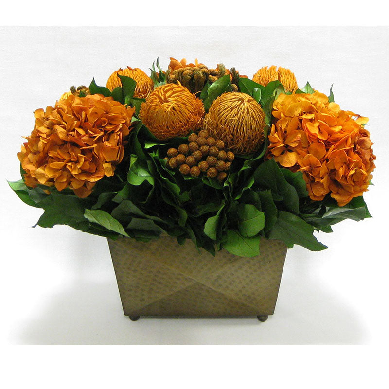 Brass Metal Rect Container - Banksia Autumn, Brunia Autumn & Hydrangea Rust Brown