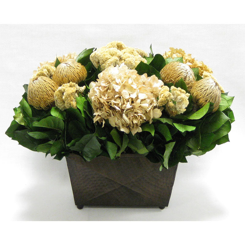 Copper Metal Rect Container - Banksia Natural, Celosia and Hydrangea Ivory