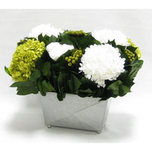 Load image into Gallery viewer, [RPPH-RHDBHDW] Pewter Metal Rect Container - Roses White, Brunia Yellow & Hydrangea Basil and White